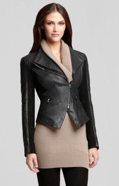 Elie Tahari Gretta Leather Jacket | leather jacket | moto jacket | geometric, sharp, sleek