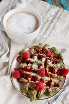 matcha waffles with