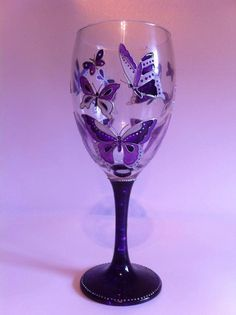 Hand Painted Wine Glass Painted