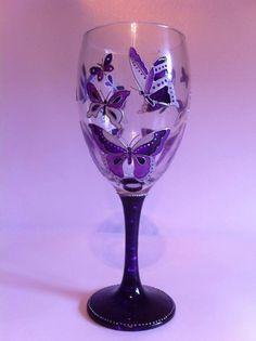 Hand-painted purple butterflies wine glass