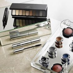 Make it a smooth transition into fall with this season's hottest shades (Pictured: Everyday Smoky Eyeshadow Palette, Intense Ink Eyeliner, Beautifully Bare Defining Mascara, Baked Eyeshadow & Smudge Pots)