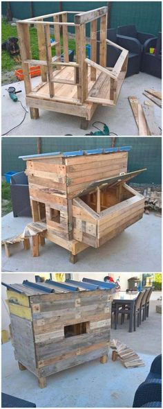 Such a beautiful idea of wood pallet chicken coop has been introduced in this picture! To create it amazingly, you need to arrange wood pallet planks, dismantle it and assemble it in an organized way. Mobile Chicken Coop, Small Chicken Coops, Easy Chicken Coop, Chicken Pen, Portable Chicken Coop, Chicken Garden, Chicken Coop Designs, Backyard Chicken Coop Plans, Chicken Coop Pallets