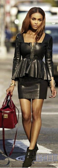 Street fashion chic....black luxe leather dress