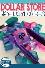 Fun ideas for student learning activities from the Dollar Tree. These kindergarten centers include fine motor, word work, and even cooperation! Also included are ideas for literacy centers. Kids will love these fun hands on centers! Teaching Sight Words, Sight Word Practice, Sight Word Games, Sight Word Activities, Preschool Sight Words, First Grade Sight Words, Reading Practice, Reading Games, Kids Learning Activities