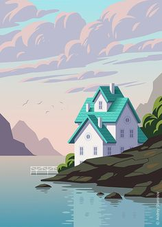 Illustration Styles Lake house - A gallery-quality illustration art print by Andrey Sharonov for sale. Illustration StylesSource : Lake house - A gallery-quality illustration art print by Andrey Sharonov for sal. Art And Illustration, Illustration Design Graphique, Art Graphique, Illustrations And Posters, Watercolor Illustration, Illustration Fashion, Character Illustration, Botanical Illustration, Pixel Art