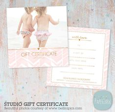 Photography Gift Certificate  X Two Sided Card  Photoshop