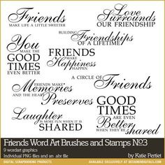 Friends Word Art No. 03 Brushes and Stamps- Katie Pertiet Brushes- DS831933- DesignerDigitals