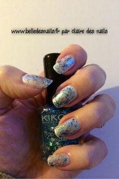#Nailart féérie bleutée - Belle des nails #nail #nails #manicure #glitter #paillettes #fancy #kiko #blue #bleu #belledesnails.fr