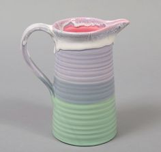 PETER SHIRE TRI-DIPPED PITCHER, WHITE / PURPLE / GREEN :: HICKOREE'S