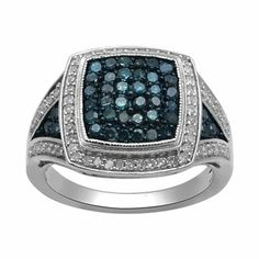 Stunning Genuine White Irradiated Blue Diamond Ring