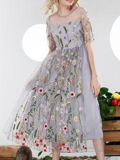 Grey Gauze Embroidered Sheer A-Line Dress