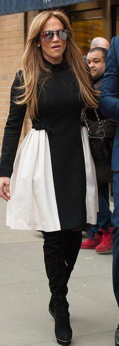 8a074bc3bdb6 Jennifer Lopez: Sunglasses – Quay Purse – Chanel Dress – Valentino Shoes –  Cesare Paciotti