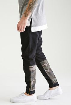 Zippered Camo-Paneled Chino Joggers | 21 MEN | #f21men