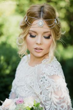 Boho Bridal Makeup and Hair Headpiece www.elegantwedding.ca
