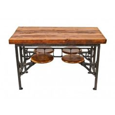 """one of two identical early 1920's antique american industrial """"sani"""" 4-seat swing-out stationary lunch hall factory table"""