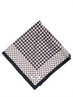 ZZEGNA HOUNDSTOOTH PRINTED SILK POCKET SQUARE Picnic Blanket, Outdoor Blanket, Printed Silk, Luxury Shop, Pocket Square, Houndstooth, Prints, Shopping, Pocket Squares