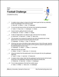 Football Wordsearch, Vocabulary, Crossword, and More: Football Challenge