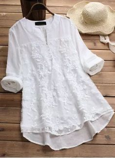 Shop Floryday for affordable Tops. Floryday offers latest ladies' Tops collections to fit every occasion. Cheap Womens Tops, Kurta Designs, Long Blouse, Blouse Vintage, Blouse Online, Blouse Styles, Jacket Style, Women's Fashion Dresses, Fashion Blouses