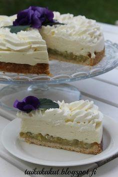 Raparperi-vaniljajuustokakku (24cm) Baking Recipes, Cake Recipes, Dessert Recipes, No Bake Desserts, Vegan Desserts, Rhubarb Recipes, Sweet Cakes, Sweet And Salty, Yummy Cakes