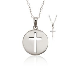 Mother/Daughter Set, Teach Me Sterling Silver Cross Necklace (Set of 2) on SonGear.com - Christian Shirts, Jewelry