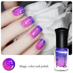 Thermal Nail Varnish Color Changing Peel Off Varnish with Paillette Dark Blue to Purple