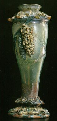 "Emile Gallé           Vase Pain Cone-shaped Vase.""Pain Tree"" (Pinus strobus L,) c.1903(Exhibited at 1903 I'Ecole de Nancy Exhibition in Paris) Kitazawa Museum of Art"