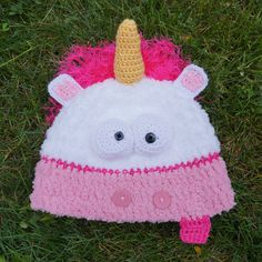Crochet Fluffy Unicorn Hat Crochet despicable me by HookersPalace