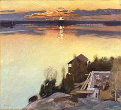 "huariqueje: "" Sunset at Lake Tuusula - Pekka Halonen 1902 Finnish "" Nordic Art, Scandinavian Art, Nocturne, Landscape Art, Landscape Paintings, Landscapes, Romanticism Paintings, Color Of Night, Nordic Lights"