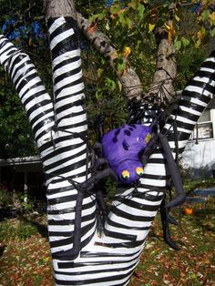 tim burton trees duct tape garbage bags halloween yard decorations