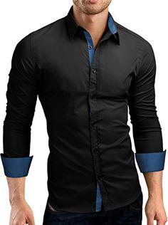 Grinand Schwarzes Hemd, Herren Hemden, Kontrast, Herren Mode, Hosen,  Bekleidung db21ff3224