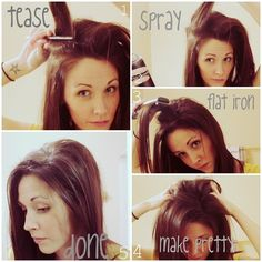 For everyone who doesn't know how to tease their hair but thinks they do. Im tired of seeing ugly teased hair. So please read this. How to smooth teased hair and still keep the volume (flat iron after hairspray is dry)