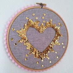 Embroidery Ideas Handmade sequin art, each sequin has been sewn on individually to create a negative space heart. It is gold sequins on grey linen fabric, pale - Embroidery Hoop Art, Ribbon Embroidery, Cross Stitch Embroidery, Embroidery Patterns, Sequin Embroidery, Embroidery With Beads, Tambour Embroidery, Diy Broderie, Linen Fabric