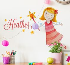 A wall sticker with a sweet illustration of a fairy holding a magic wand. Customise this decal with any name that you like to make it more personal to you!  Do you want to create a magical fantasy themed room full of fairies for your little girl's bedroom? This decal is perfect for achieving your desired look while also making your child's space more unique and personal to them with the addition of their own name. #Fairy #Personalised #Decoration