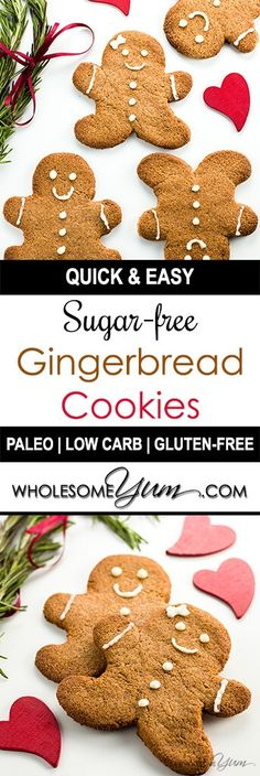 Sugar-free Gingerbread Cookies (Low Carb, Paleo) - This sugar-free gingerbread cookies recipe uses just 5 ingredients plus a few spices. It's also low carb, paleo, and gluten-free. (recipe for sugar cookies low carb) Keto Cookies, Ginger Bread Cookies Recipe, Sugar Free Cookies, Sugar Free Desserts, Sugar Free Recipes, Low Carb Desserts, Paleo Recipes, Diabetic Cookie Recipes, Man Cookies