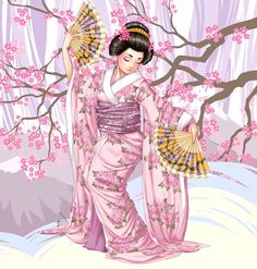 Geisha with fans amongst cherry blossoms art