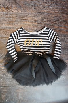 First Birthday outfit monogrammed dress long sleeve Black and white with gold glitter by GraceandLucille on Etsy https://www.etsy.com/listing/269318910/first-birthday-outfit-monogrammed-dress