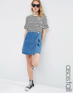 Image 1 ofASOS TALL Denim Wrap A Line Skirt in Mid Wash Blue