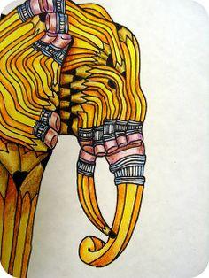 no. 2 pencil transformation- detail by jodie hurt, via Flickr
