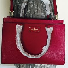 "Kate Spade Wellesley bag  Kate Spade Wellesley bag  Brand new. Color Red Plum. 9H x 12.5W x 5,9D. Total strap length 45.3"". Boarskin embossed, jacquard lining, 14 karat light gold plated hardware. Double slide pockets & interior pocket.  kate spade Bags Crossbody Bags"