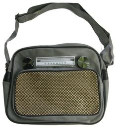 Gray Radio Small Messenger Bag - Turn on and tune in! This is a messenger bag made to look like a stereo. It is gray and has knobs that actually turn. It has an outer zipper pocket on the front and it zips closed along the top. The inside has a small inner side pocket too. The strap is full adjustable from 25 inches to about 50 inches. The bag measures 13 inches wide and 10.5 inches high and 4 inches deep. $28