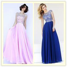 2.A Line Scoop Floor Length Chiffon Dark Royal Blue Beaded Bodice Prom Dresses