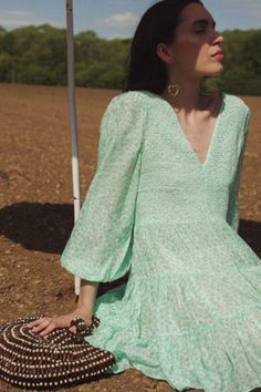 Check Out the Sasha Mint Love Heart, Cotton/Casual No Split Mini Dress. Shop Now at RIXO, Get Off Your First Order! Long Sleeve Midi Dress, Floral Midi Dress, Button Down Dress, Girly Outfits, Dream Dress, Summer Looks, Suits For Women, My Style, Dresses