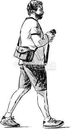 Vector drawing of a walking man at recreation. Human Figure Sketches, Human Sketch, Human Figure Drawing, Figure Sketching, Person Drawing, Gesture Drawing, Drawing People, Drawing Drawing, Tutorials