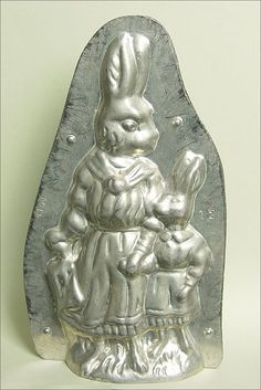 "Antique chocolate mold Mother Rabbit and Bunny 8 1/4"" tall."