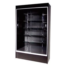 #WC4B 48 Long By 78 TALL FULL VISION WOOD WALLCASE TROPHY DISPLAY CASE BLACK