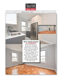 PROPERTY On The Market via Time Out New York: MOTT HAVEN ESCAPE. Brand-new hardwood floors and a windowed kitchen have us crushing hard on this two-bedroom, one-bathroom, which, much to our delight, is just steps away from St. Mary's Park in The Bronx.  More properties from Bohemia Realty Group at:  www.bohemiarealtygroup.com/