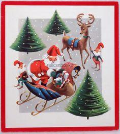 #984 60s Mid Century Santa, Elves, Reindeer, Vintage Christmas Card-Greeting