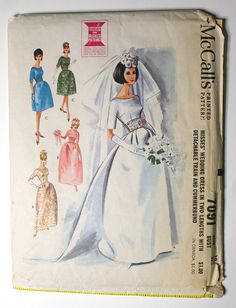McCall's 7091 Misses 1960s Wedding Dress by VtgSewingPatterns, $15.00