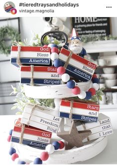 Stacked Books, Tier Tray, Wood Book, 4th Of July Decorations, Painted Books, July Crafts, Beaded Garland, American Country, Tray Decor