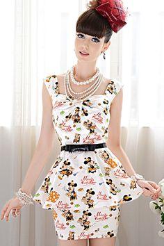#Oasap Mickey Mouse Print Sleeveless Bound Waist Mini Dress, Katy Perry style dress, #KatyPerry